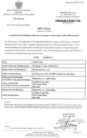Pipistrel Virus 912 - Wpis na Listę Typów Zakwalifikowanych ULC